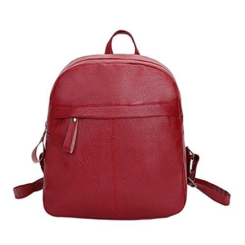 Mujer Bolsos Mochila Mochilas de mujer para adolescentes Bolsas de escuela de cremallera femenina de alta calidad del bolso de hombro Rojo