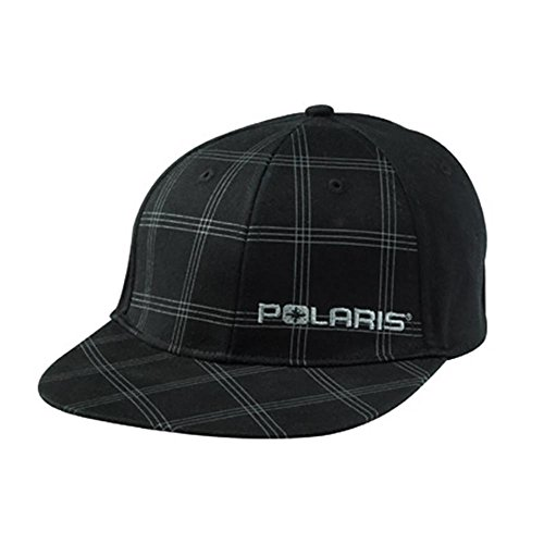 Polaris Black Plaid Checkered Teton Fitted Baseball Cap Hat Size S/M (Polaris Baseball Hat)