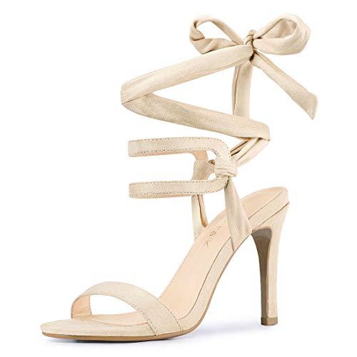 Allegra K Women's Stiletto High Heel Lace Up Beige Sandals - 6 M US