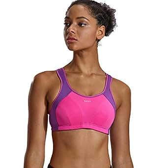 SYROKAN Women's No-Bounce Full-Support Racerback Pro High Impact Sports Bra Pink 32B