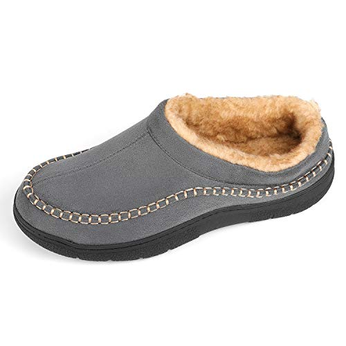 Zigzagger Men's Wool Micro Suede Moc Stitch Slippers Indoor Outdoor Nonslip Sole House Shoes,Grey,11-12 D(M) US