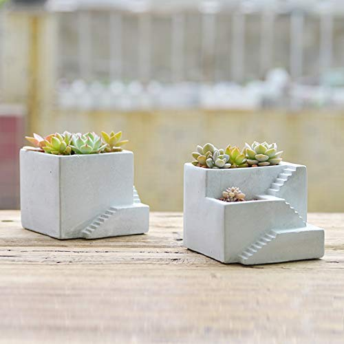 Concrete Planter Best Quality - Clay Molds - Creative Stairs Cement Succulent Plants Silicone Mold Clay Crafts Home Decoration Building Concrete Planter vase molds - by GTIN - 1 PCs