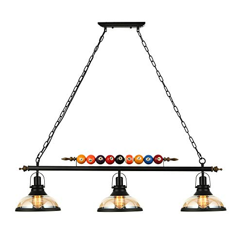 Ladiqi 3 Lights Island Light Hanging Pool Table Light Fixture Pendant Light with Clear Glass Shade Special Billiard Ball Decoration Chandelier for Gaming Room Living Room Kitchen ()