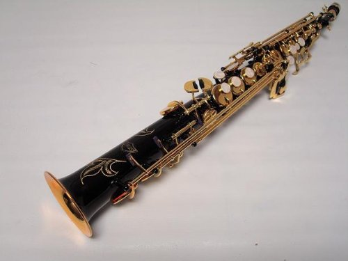 Professional Black Gold Soprano Straight Saxophone Sax by OPUS USA (Image #4)