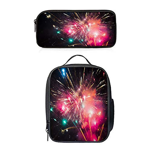 SARA NELL Beautiful Pink Fireworks At Night Lunch Bag&Pencil case Set with Padded Straps for Boys Girls