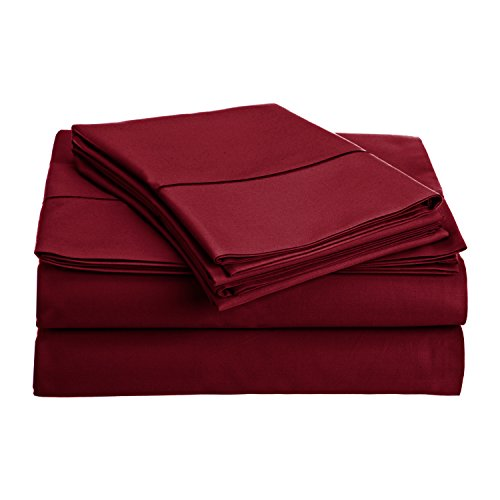 Full Quilt Sham Sheets (800 Thread Count 100% Long Staple Egyptian Cotton Sheet Set, Full Sheets, Luxury Bedding, Full 4 Piece Set, Smooth Sateen Weave,Burgandy, by Audley Home)