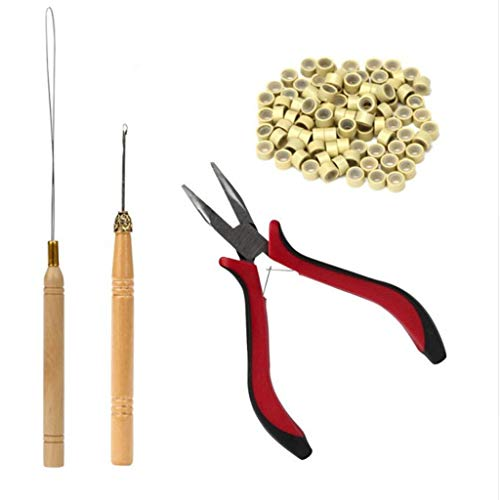 Hunputa Feather Hair Extension Tool KIT Micro Ring Hair Extension Pliers Pulling Hook