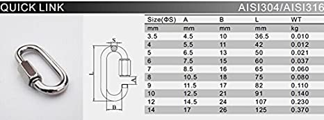 Quick Link Chain Rope Connector Stainless Steel 304 1//8 3//16 1//4 3//16 5//16 6PC 5MM
