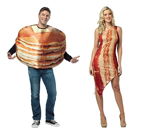 Adult size Get Real Stacked Pancakes & Bacon or Egg - Foodie Couples Costumes (one size, Pancakes And Bacon (Egg And Bacon Costume)
