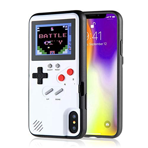 LayOPO Gameboy iPhone Case, iPhone Case Game Console with 36 Small Games,Color Screen,Retro 3D Gameboy Design for iPhone Xs/X,iPhone8/8 Plus,iPhone 7/7 Plus,iPhone 6/6Plus (iPhone Xs MAX, White)