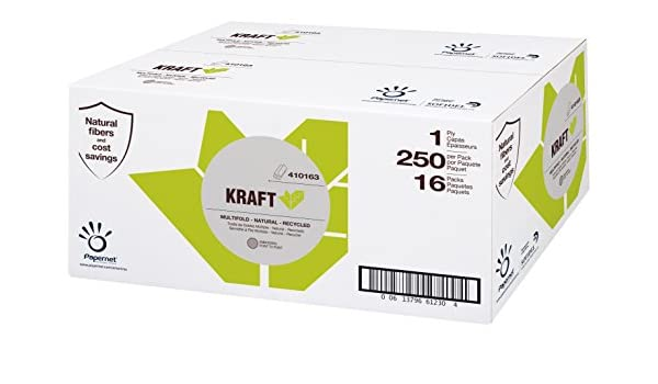 Papernet 410163 Kraft 1-ply Natural multifold Towels, 16 Packs per case, 250 Sheets per Pack, 9.5