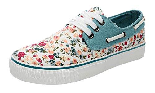XIAXIAN Flower Canvas Elegant Lacing Style Casual Shoes(7.5 B(M) US, Beige)