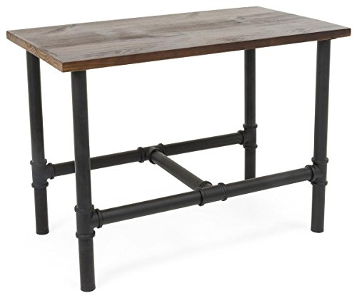 Displays2go, Natural Wood Pipeline Table, Metal and Pine Wood Construction – Black, Brown, Clear Finish (PPLNNSTSMB) by Displays2go