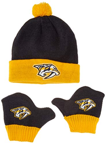 OTS NHL Nashville Predators Pow Knit Cap & Mittens Set, Navy, - Predator Pack