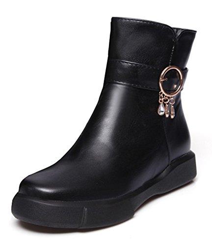 Plates Mode Strass Noir Chaussures Boots Aisun Femme Rangers Bottines Low IawqnTC
