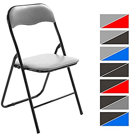 CLP Silla Plegable Felix con Estructura de Metal I Silla de Conferencia Acolchada I Silla de Eventos Plegable I Color: Gris/Negro