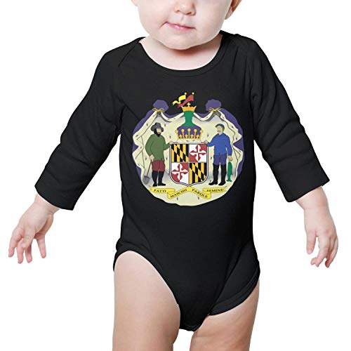 PoPBelle Maryland State Flag Baby Onesie Black Clothing Long Sleeve Jumpsuits Cotton Rompers -