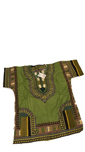 African Men Women Dashiki Shirt Top Blouse Hippie Tribal Caftan with two pockets (Green)