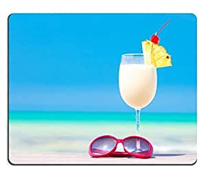 Mouse Pad Natural Rubber Mousepad IMAGE ID: 23580513 picture of pina colada and sunglasses on tropical beach