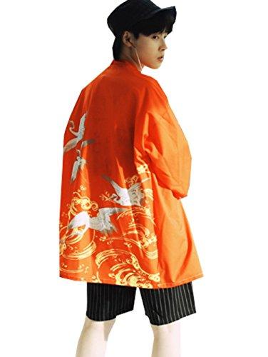 [UKENI ] 하오리 가디건 맨즈 옷 유카타풍 7부 칠부 소매 일본식 얇은 꽃 무늬 파커 진베이(여름에 입는 남자 덧옷) 썸머 넉넉하게 자외선 차단