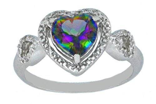 Natural Mystic Topaz & Diamond Heart Ring .925 Sterling Silver Rhodium ()