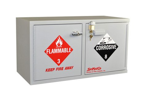 Scimatco SC9041 Gray Plywood Mini Stak-a-Cab Safety Storage Bench Combo Cabinet, Acid 10 x 2.5 L/Flammable 8 x 1 gal Capacity ()