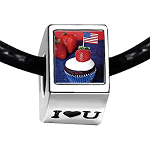 Chicforest Silver Plated Chocolate cupcakes with American flags Photo I Love You Charm Beads Fits Pandora Bracelets