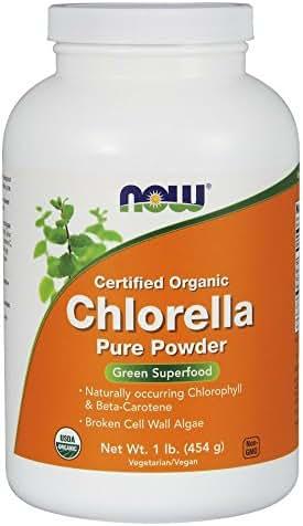 Now Supplements, Organic Chlorella Powder with Naturally Occurring Chlorophyll, Beta-Carotene, Mixed Carotenoids, Vitamin C, Iron and Protein, 1-Pound