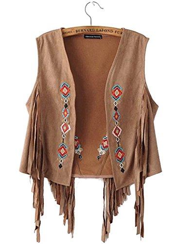 Long Vest Fringe Leather - Aishang Women's Ethnic Embroidery Suede Fringed Vest Fringe Sleeveless Cardigan Brown