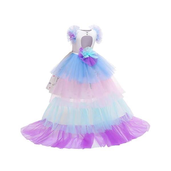 JiaDuo Girls Princess Party Dress, Rainbow Tutu Train & Headband 5