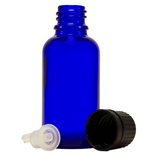 30 ml 1 fl oz Cobalt Blue Glass Bottle with Euro Dropper 24 Pack
