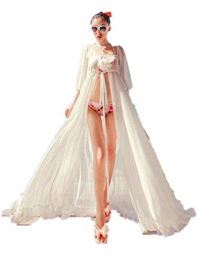 Women Sexy Chiffon Long Dress Sarong Beach Bikini Swimwear Cover Up Wrap (Vintage Robe)