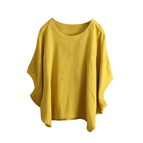 Willow S Plus Size Women Short Sleeve Round Neck Dandelion Printing Cotton and Linen Loose T-Shirts Tops Blouses Yellow