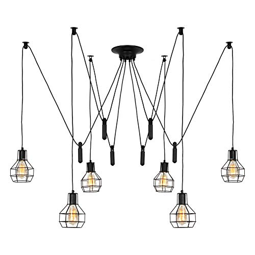 T&A 6 Arms Spider Lamps with Pulley and Industrial Cage Lampshade, Vintage Edison Style Adjustable DIY Ceiling Spider Pendant Lighting Rustic - Lamp Ceiling Fluorescent Pendant