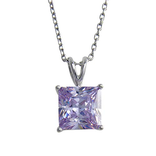 KEZEF Sterling Silver Square Lavender CZ Pendant Necklace 9mm