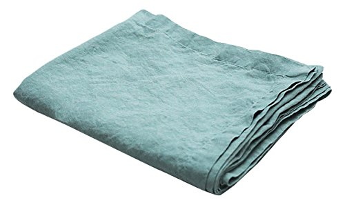 LinenMe Stone Washed Linen Tablecloth 67''x67'', Spa Green