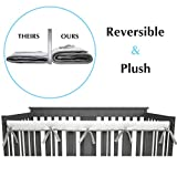American Baby Company 1 Pack Heavenly Soft Narrow Reversible Crib Rail Cover for Long Rail, Gray/White, for Rails Measuring up to 4' Folded