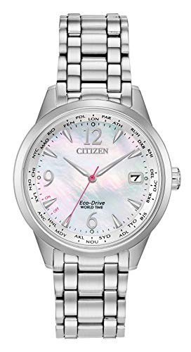 Eco Drive World Time Watch - Ladies' Citizen Eco-Drive World Time Silver Watch FC8000-55D