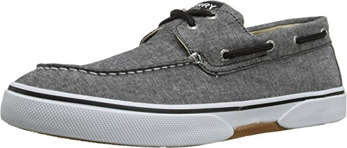 (SPERRY Men's, Halyard Lace up Boat Shoe Chambray Black 8)