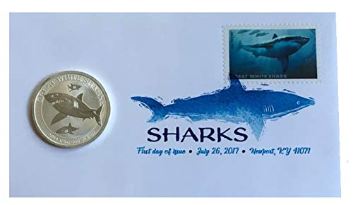 2014 AU 1/2 Ounce Great White Shark and 2017 Great White Shark Forever Stamp First Day Cover by US Postal Service 1/2 OZ Brilliant Uncirculated -