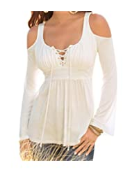 Womens Long Sleeve Lace Up Neck T-Shirt Casual Slim Off Shoulder Tops Blouses