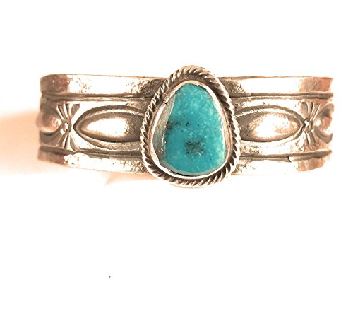 Nizhoni Traders LLC Navajo American Turquoise Sterling Silver Bracelet Signed from Nizhoni Traders LLC
