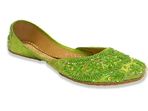 Parrot Green Beaded Indian Flats Bollywood Sari Shoes Lime Belly Dance Khussa Womens 8