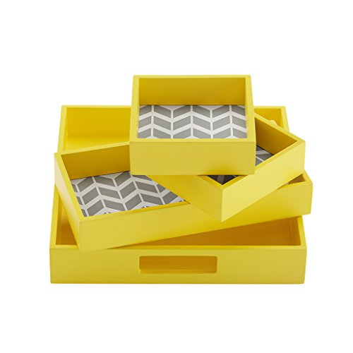 "Intelligent Design ID71-533 Nadia 4 Piece Decorative Tray Set, 9.8 x 9.8 x 1.78"", Yellow"