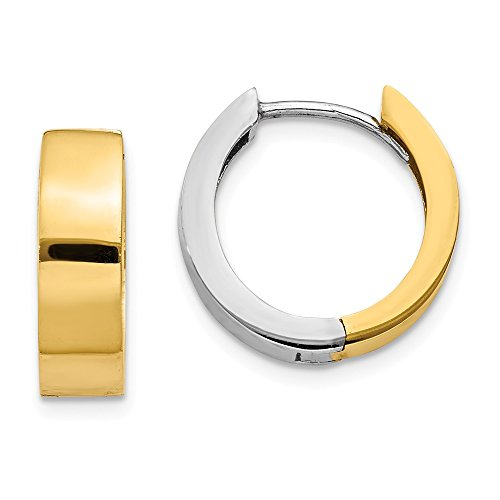 Two-Tone Hinged Huggie Round Hoop Earrings in 14k Gold, 13mm (1/2 In) ()