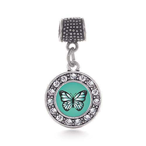 Inspired Silver - Teal Butterfly Memory Charm for Women - Silver Circle Charm for Bracelet with Cubic Zirconia Jewelry