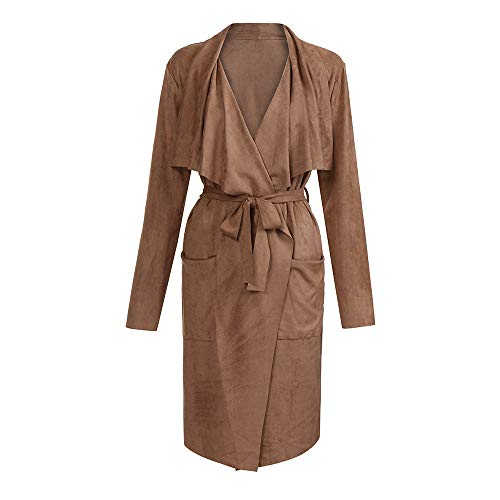 FIRERO Women Long Sleeve Leather Open Front Short Cardigan Suit Jacket Solid Long Coat