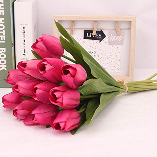 Hot Pink Tulips - JCarry 12PCS Artificial Flowers,Fake Flowers Bouquet Silk Tulip Real Touch Bridal Wedding Bouquet for Home Garden Party Floral Decor (Hot Pink)