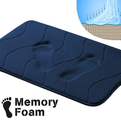 OriginZone Waterproof with Anti-Skid Protection Memory Foam Waved Pattern Fieldcrest Luxury Bath Rugs, 20 Inch by 32 Inch, Navy