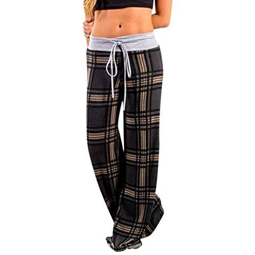 AOJIAN Yoga Pants Buttery Soft Plaid Wide Leg Jogger Capri Workout Running Sports Leggings for Women Dark -